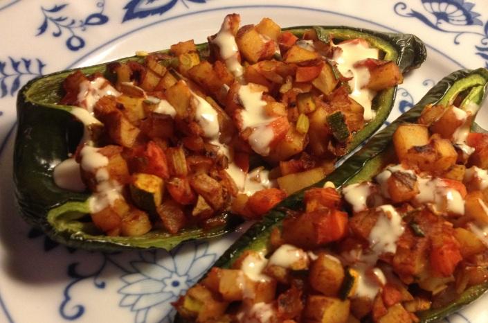 Vegan Stuffed Poblano Peppers